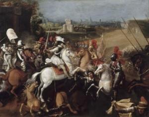 Peinture : Henri IV à cheval livre bataille