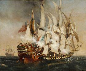 Peinture de combat naval - l'abordage du Kent de Garneray (1836) musée de La Roche-sur-Yon