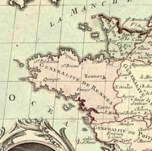 Carte de la Bretagne en 1789.
