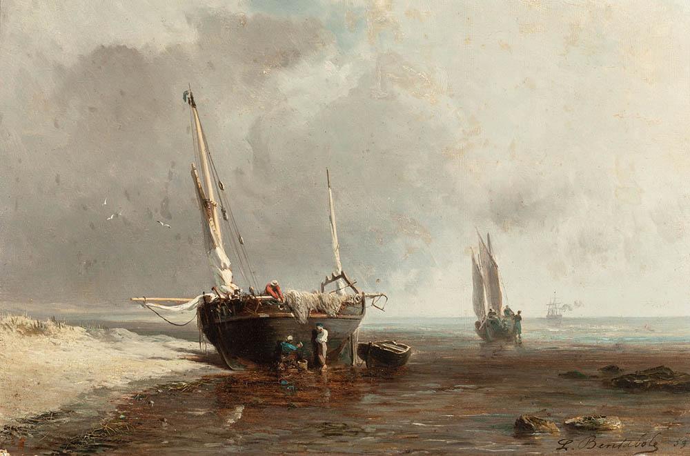Louis_Bentabole_-_Bateaux_de_pêche_sur_la_côte_à_marée_basse